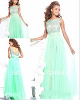 New Arrivlal 2013 A Line Cap Strap Chiffon  Long Sexy Cheap Light Green  Full Length  Evening Dress Prom Dresses