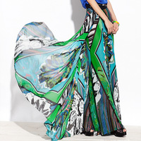 free  shiping 2013 spring and summer women's print chiffon wide leg pants culottes elegant long trousers k065su13