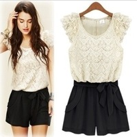 Big Sales 2013 new lace pants shorts Korean conjoined pants female Xia belt jumpsuit.dressHB5811,