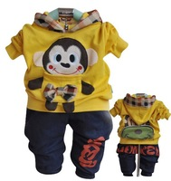 Free shipping children Cotton hooded sweater suit boy girl cartoon monkey sweater +pants kids clothing sets baby set 4 sets/lot