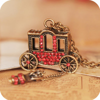 Free shipping small carriage vintage red rhinestone  crystal shoes design long necklace chain