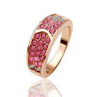 18k Gold Plated Rings High Quality Rhinestone Crystal Rings Wholesale Fashion Jewelry Free Shipping 18krgpr025