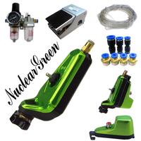 Complete Tattoo Kit  Neuma Style Green Pneumatic Rotary Tattoo Machine Gun Kit Nuclear