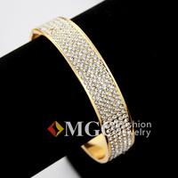 Gorgeous 400 PCS Austrian Rhinestone Cuff Bracelets 18K Gold Plated High Quality Big Bangles Jewelry Gift For Women  MGC H5110