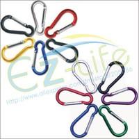 500pcs/lot 3.7mm*40mm Aluminum climbing hook Carabiner Durable  camping Equipment keychain hook, mix color