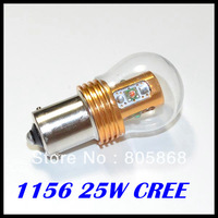 2pcs/lot 1156/BA15S auto led light 25W 500LM High Power Cree chips CAR Bright White/amber Lighting Front turn signals