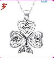 Free Shipping 5pcs a lot shinny silver Silver Shamrock Of Faith Necklace(A103129)