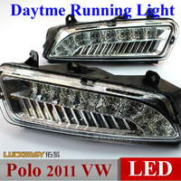 Polo 2011 VW Volkswagen DRL daytime running lights Bright LED Foglight LED daylight DRL 1:1 auto car headlights Free HK Post