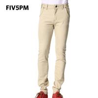 Fiv5pm 2013 summer casual pants elastic slim male straight jeans trousers denim