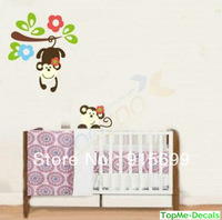 [Top-Me]- TREE WITH MONKEYS WALL STICKER DECAL ART MURAL CHILDRENS JUNGLE NURSERY 1202