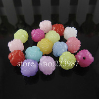 Free shipping 200pcs mixed color multicolor  12mm  Jelly beads spherical rose acrylic beads