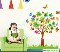 [Top-Me]- Decorative Combination Rainbow Color Cartoon Children Room Butterfly Tree Home Bedroom DIY Removable Wall Sticker 5108