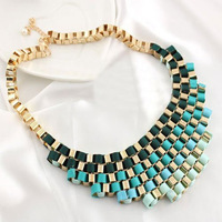 Min.order is $10 (mix order) Free shipping ,2013fashion Vintage color block short girl necklace accessories design.
