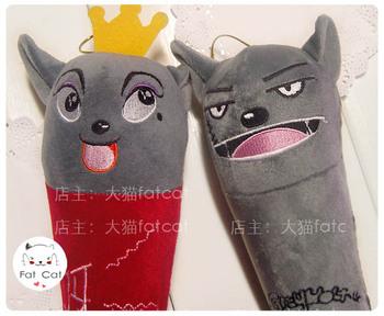 604 Red wolf decompression back massage stick plush cartoon toy massage stick