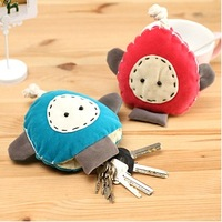 Cute small bag color block cartoon canvas wallet coin purse key mobile phone female bags