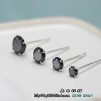925 pure silver black zirconiumfashion stud earring male general earrings girls measurement