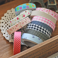 Flower 10pcs/lot  DIY Korean decorative fabric tape cotton cloth Washi Japan paper tape adhansive stationery Free shipping