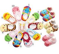 free shipping,Non-slip floor children baby cartoon girl socks, cotton side ship toddler one pair