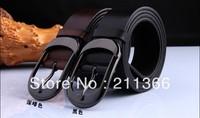 Hot sale Mens Black/Brown Genuine Leather BELT Alloy Buckle Man Design Waist Belts Free shipping Wholesale