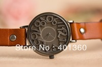 Free shipping 2013 New Number quartz wristwatches leather band fashion women's retro watches for ladies and girls