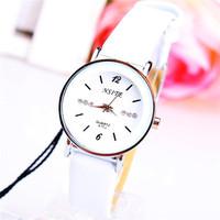 Manufacturers Promotional Fashion New Korean Version Of Casual Women Leather Rhinestone Embellishment Quartz Watches