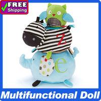 2013 Hot sale! Trio Stack Stick Animals ABC Alphabet Zoo Owl Zebra Elephant Toys Multi-function Educational Rattles
