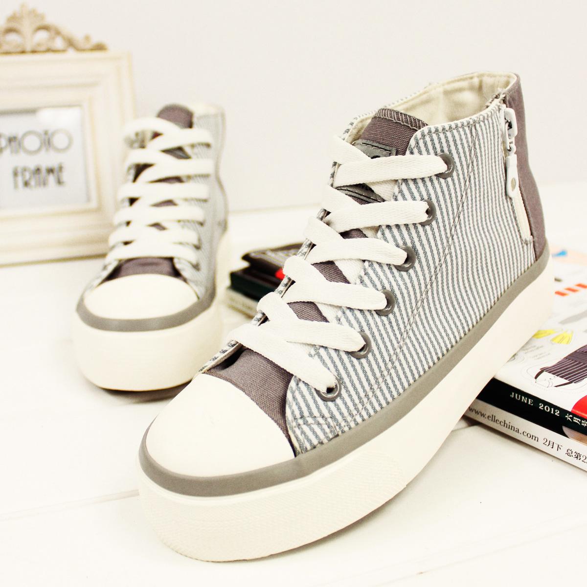 Attitude fashion stripe lacing zipper high platform canvas shoes women's shoes(China (Mainland))