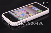 hot sellling, TPU bumper case for iphone 4 4s,Soft frame cover with metal buttons free shipping