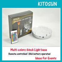 """20 LED RGB 6"""" Round Base Light Wedding Centerpiece Vase Decor"""