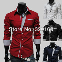 Free Shipping Trend Men's Shirts Hit color Slim Fit Stylish long-sleeved Shirt High quality