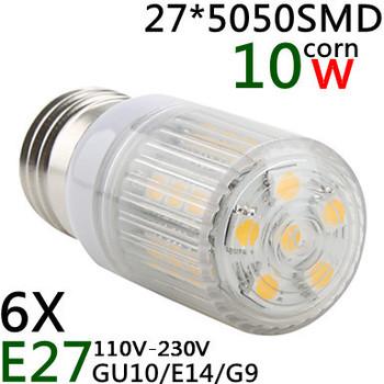 Hot Sale 6pcs E27/E14/G9/GU10  5050SMD 27LED 10W High Power LED Corn Bulb White / Warm White LED Lamp 110V/220V Shipping Free