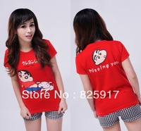 2013 spring and summer cartoon juniors clothing lovers short-sleeve t-shirt red