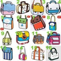 Free shipping 22 styles to chooes 3d comic bag 3d  shoulder Cartoon bag ,Fashion canvas shoulder bag,drop shipping