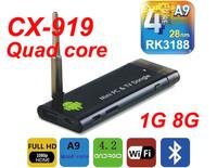 Free Shipping CX-919 RK3188 Quad Core  Android TV Stick BOX 1GB RAM 8GB ROM Bluetooth 1080P MINI PC External WIFI Antenna XBMC