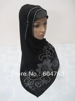JS011 free shipping assorted colors beading black crystal160*50cm  long HIJAB muslim scarf, Arab headscarf,islamic scarf