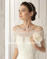 2013 Free Shipping Off-Shoulder Romantic Short Sleeve White Lace Bolero Wedding Jackets Bridal Wraps