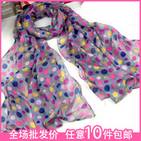 2013 spring dot multicolour super soft scarf 100% cotton long silk scarf 68