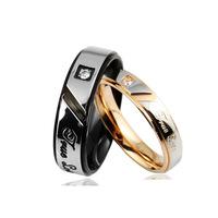 Truelove lovers ring  titanium ring black titanium rose gold single