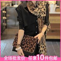 2013 scarf star female street , satin leopard print chiffon silk scarf cape
