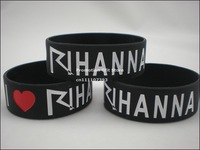 "I Love Rihanna Wristband, Silicon Bracelet, 1"" wide band, 50pcs/lot, free shipping"