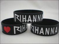 "I Love Rihanna Wristband, Silicon Bracelet, 1"" wide band, 50pcs/lot, free shipping"