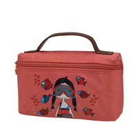 2013 Hot Sale Large Capacity Nylon Cartoon Cosmetic Bag Make Up CaseSize 5.5x14x23cm 1 Pcs MOQ Free Shipping