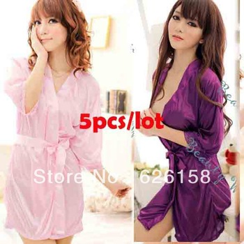 5sets/lot Sexy Lingerie Women Costume Pajamas Ice Silk Night Dress Sleepwear Robe Bathrobe + G-String Set 3 Colors 13137