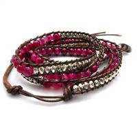2014 6mm agate dark pink bead wrap bracelet new design handmade wrap immitation leather bracelet  free shipping
