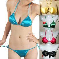 Wholesale/ retail Bikini  bra set glossy halter-neck triangle cup silks and satins wire satin underwear fabric panties 21Colors