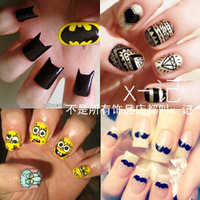 Diy ! HARAJUKU skull zipper leopard print small vintage nail art finger stickers