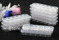 "Free Shipping Wholesale 10 pcs Plastic 12 Slots Jewelry Beads Display Storage Case Organizer Box 5x2x0.6"" #90125"