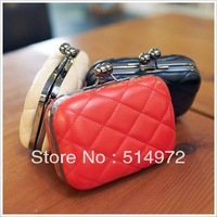 Best Selling!!2013 discount women lattice chain bag ladies plaid evening bag leather hand purse Free Shipping