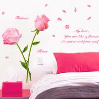 free shipping The five dynasties sofa wall ofhead wall stickers rose wall stickers rose