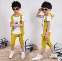 Han edition 2013 children's wear boy's short sleeve suit false two-piece bird boy children suit wholesale tertiary design